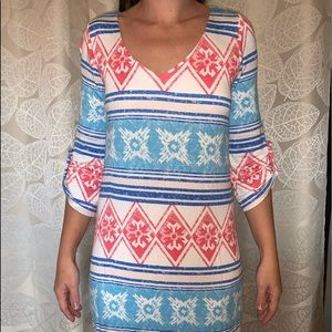 Red white and blue Aztec maternity dress